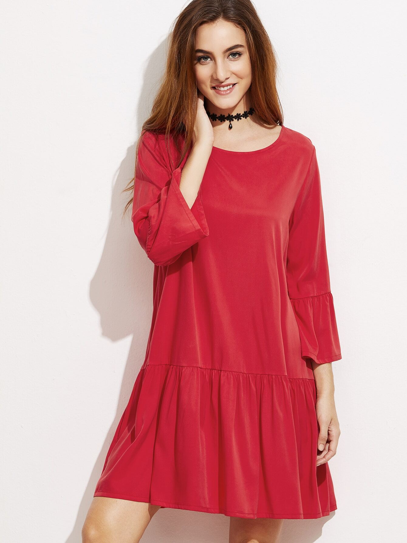 SheIn Red Keyhole Back Ruffle Trim Dress
