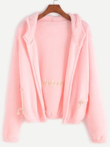 Pink Drawstring Hooded Coat