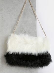 Duo Tone Faux Fur Handbag WHITE MULTI