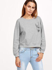 Grey Love Gesture Print Crop Sweatshirt