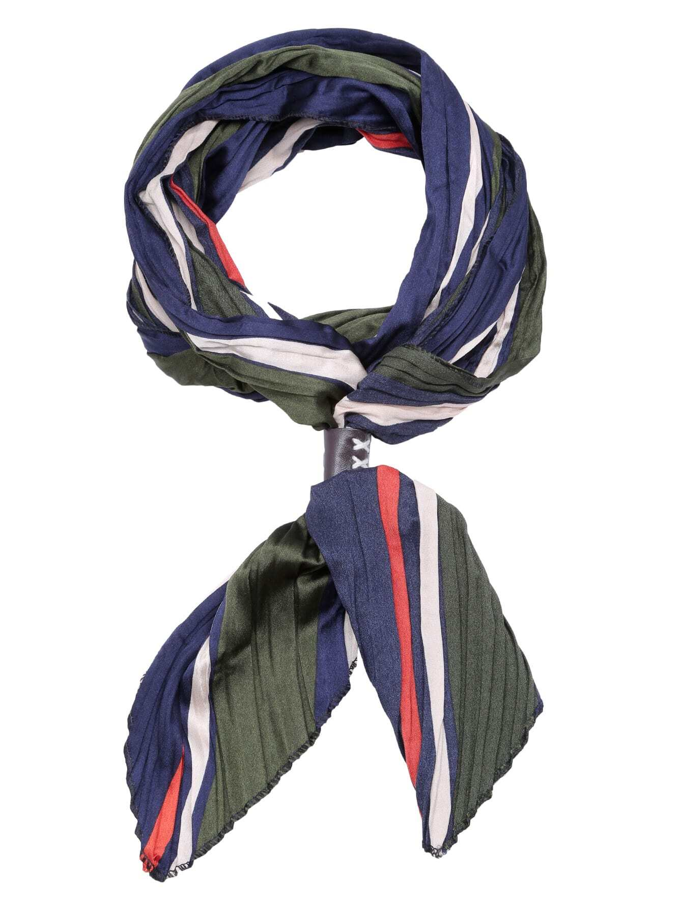 multicolor folding print satin stripe scarf shein sheinside