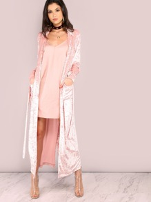 Pink Shawl Collar Longline Wrap Coat