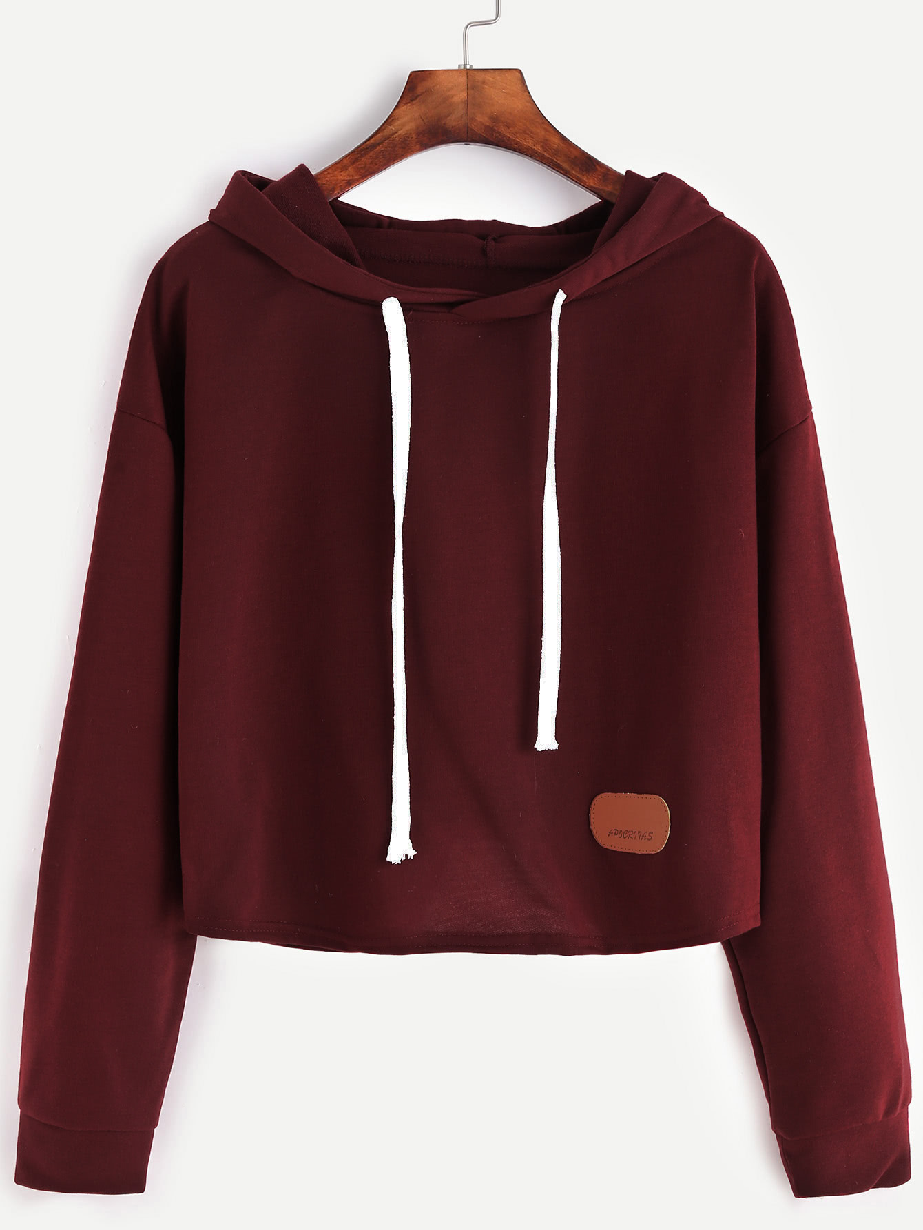 Patch Crop Hooded Sweatshirt hooded drop shoulder patch sweatshirt