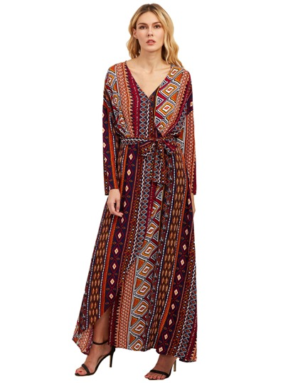 Aztec Print Tie Waist Split Maxi Dress
