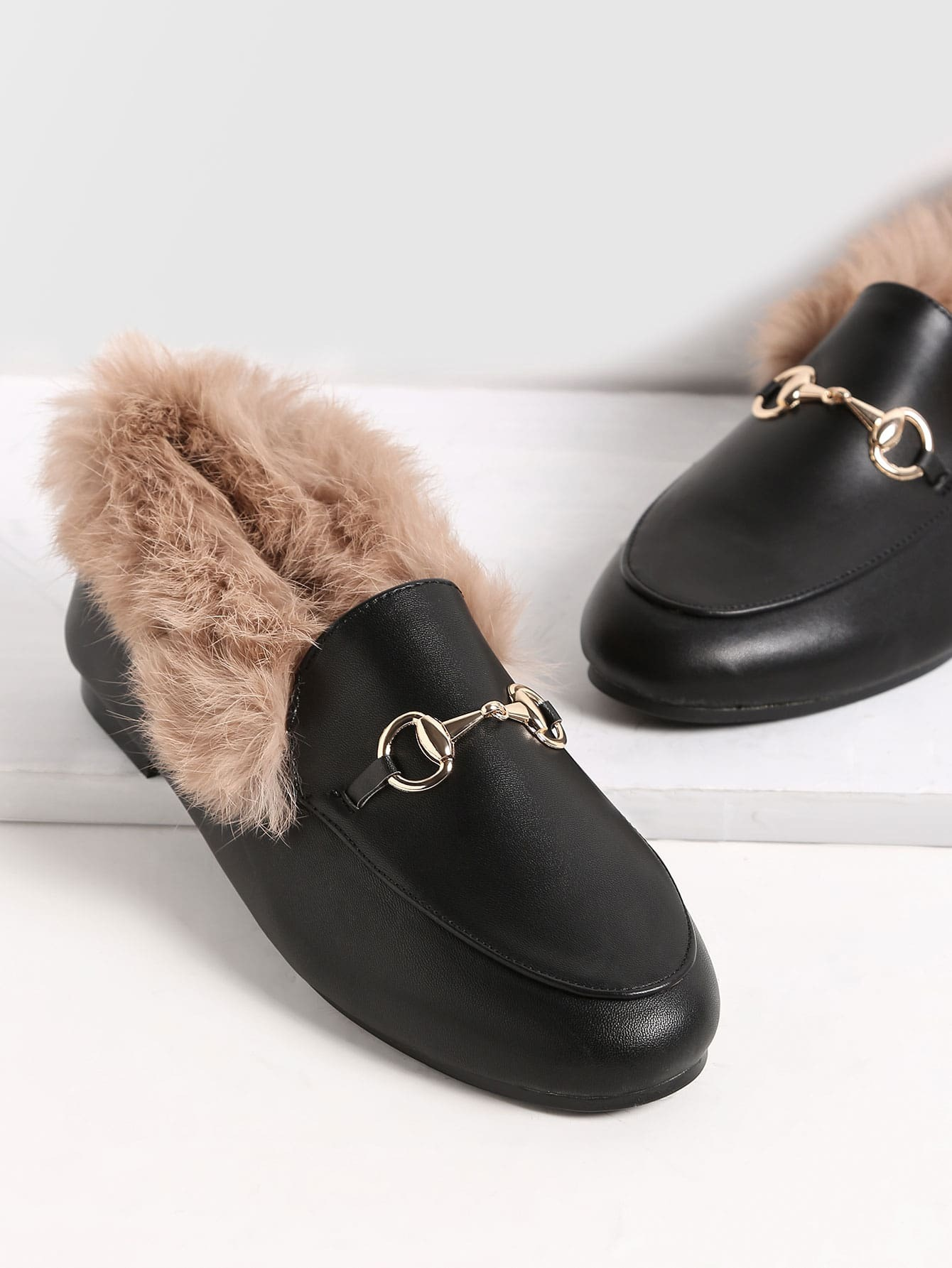 Black PU Genuine Fur Lined Loafers