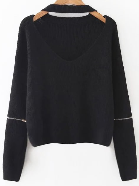 Choker V Neck Zipper Sleeve Sweater sweater161013217