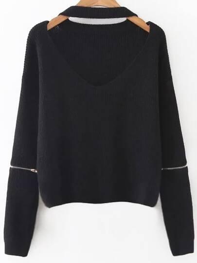 Choker V Neck Zipper Sleeve Sweater