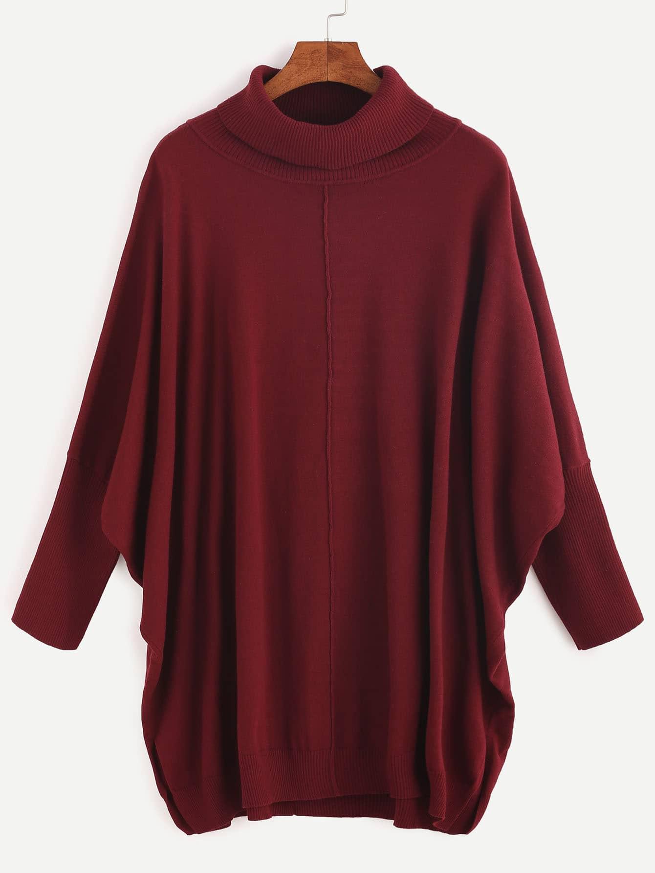 SheIn Burgundy Ribbed Turtleneck Dolman Sleeve Sweater