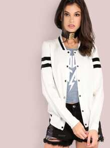 Varsity Knit Sweater Jacket WHITE