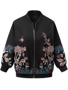 Chaqueta con bordado floral y cremallera - negro