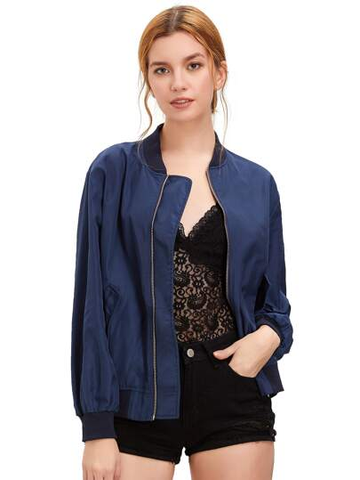 Royal Blue Stand Collar Pockets Bomber Jacket
