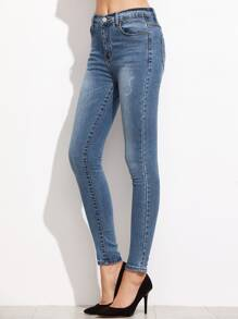 Blue Bleach Wash Skinny Jeans