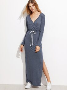 Deep V Neck Drawstring Slit Hem Dress