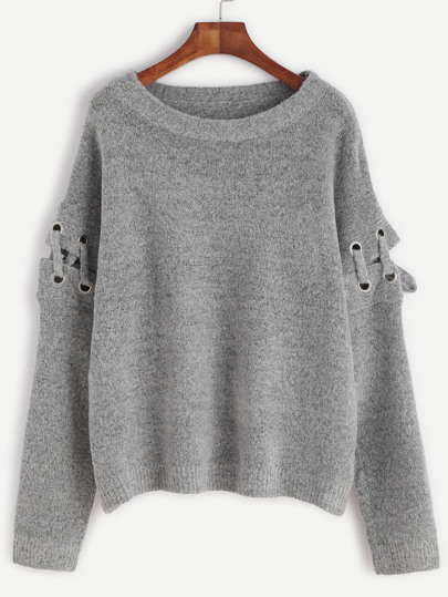 Grey Eyelet Lace Up Sleeve Pullover Sweater