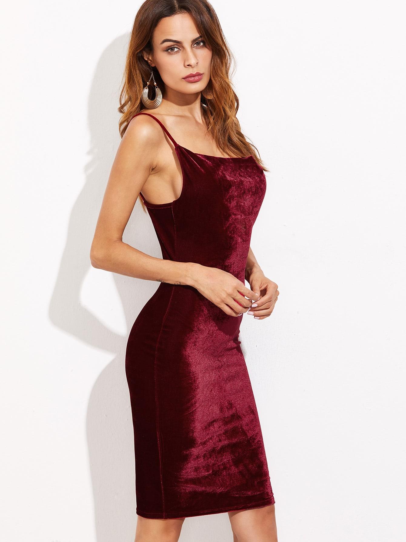 Бордовое облегающее платье на бретельках | Shein