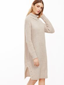 Apricot Turtleneck Slit Side Sweater Dress