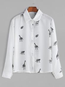 White Animals Print Shirt