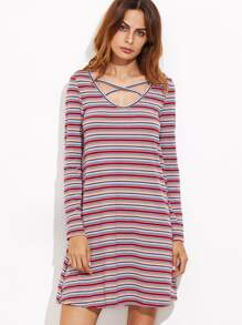 Multicolor Striped Crisscross Scoop Neck Tee Dress