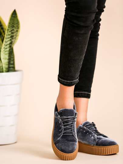 Blue Grey Faux Suede Lace Up Rubber Sole Low Top Sneakers