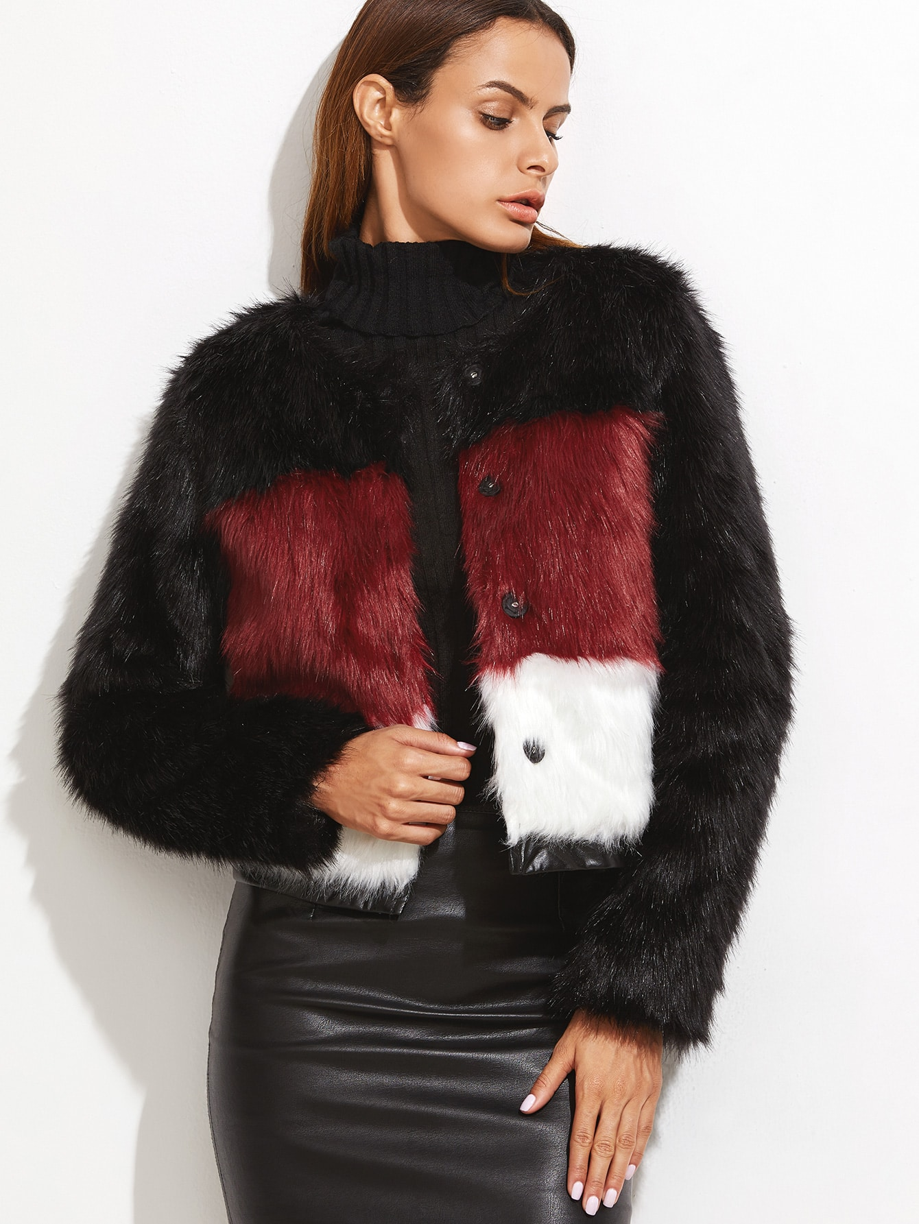 Color Block Hidden Button Faux Fur Coat
