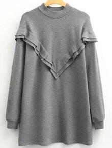 Grey Mock Neck Long Sleeve Sweatshirt Dress