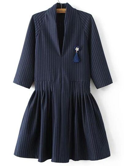 Navy Vertical Striped V Neck Dress With Brooch