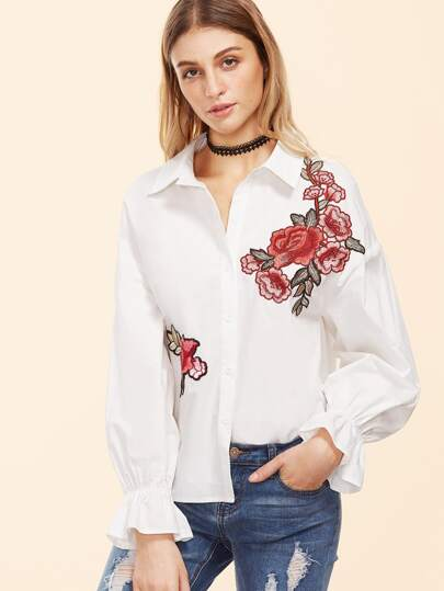 Embroidered Ruffle Sleeve Blouse