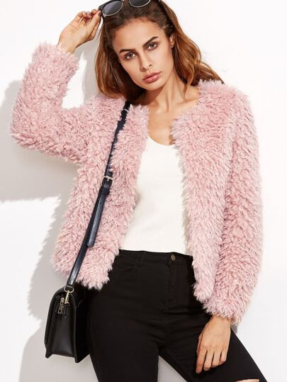 Faux Fur Fuzzy Open Front Coat