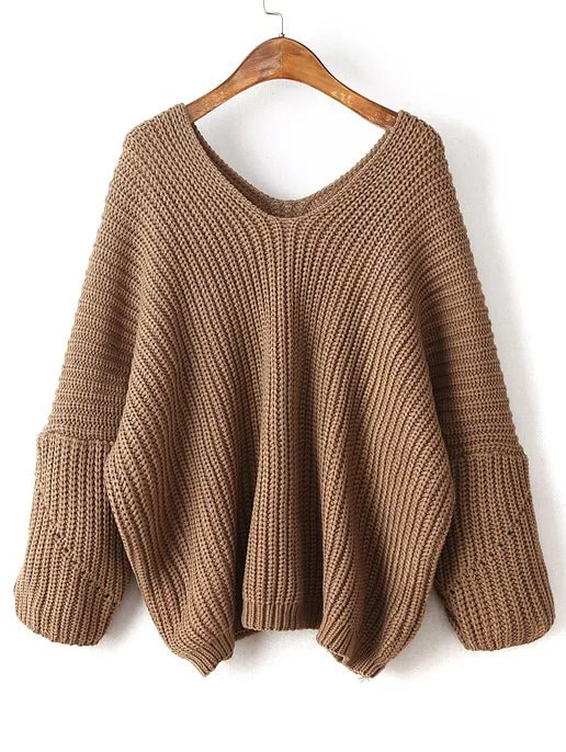 Coffee V Neck Drop Shoulder Oversized Sweater -SheIn(Sheinside)