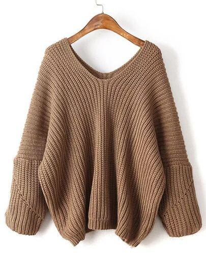 Coffee V Neck Drop Shoulder Oversized Sweater