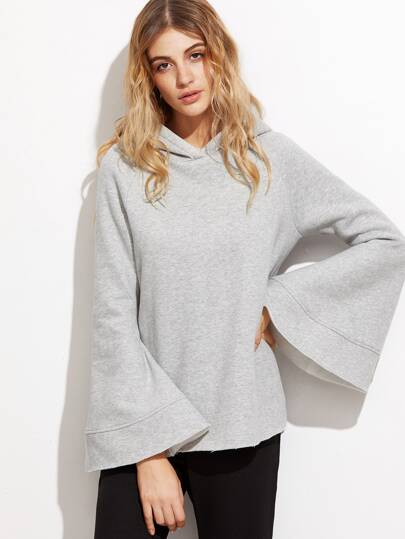 Heather Grey Bell Sleeve Hoodie