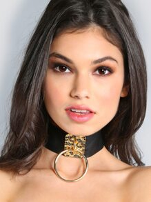 Oversized Hoop Leather Choker GOLD