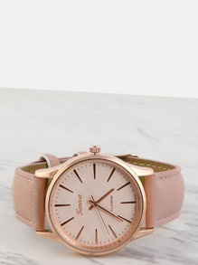 Faux Leather Round Face Watch BLUSH