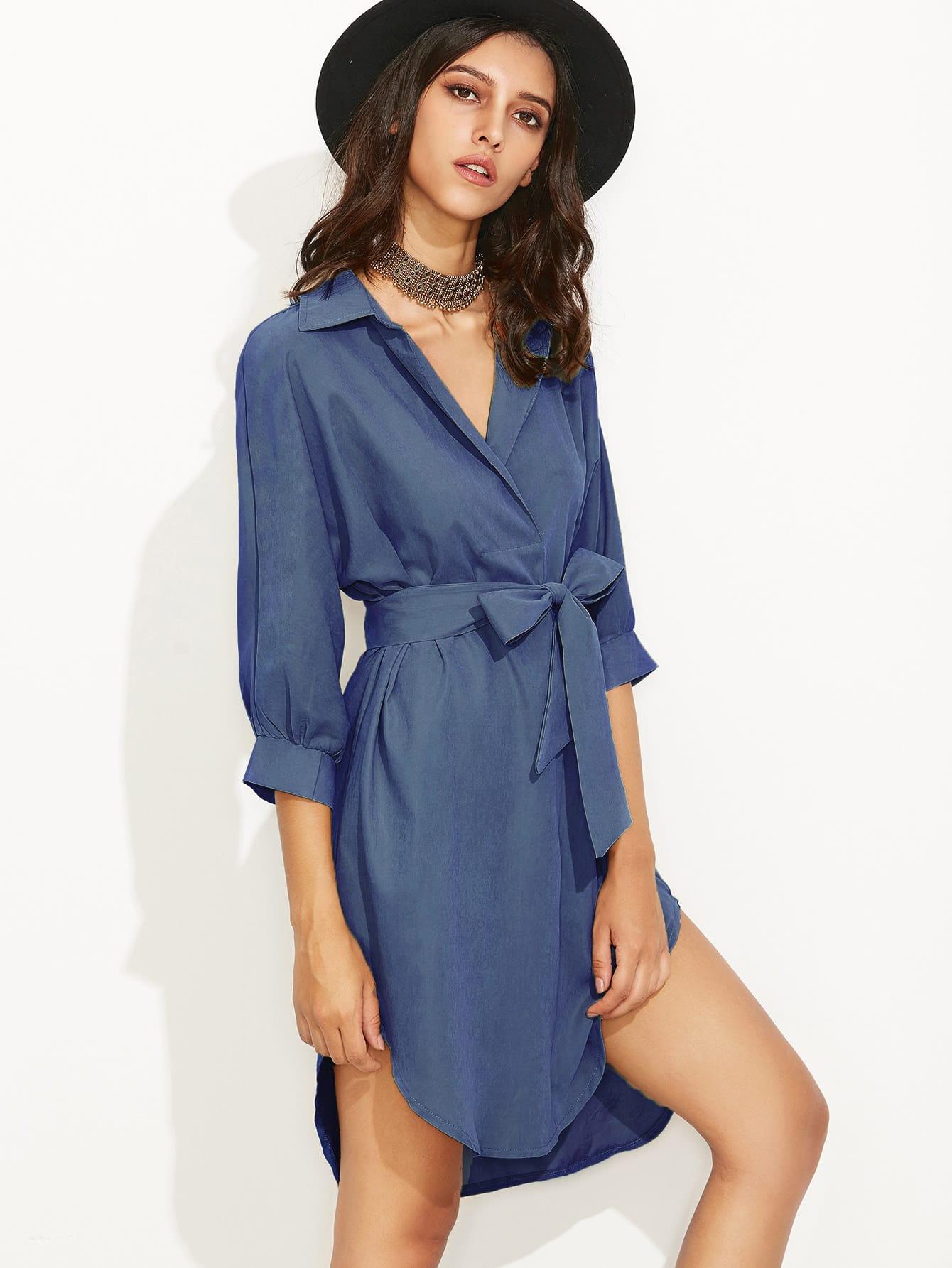 Фото Self Tie High Low Curved Hem Shirt Dress. Купить с доставкой