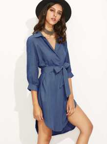 Blue Self Tie High Low Curved Hem Shirt Dress