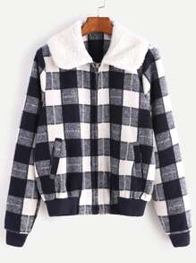 Navy Checkered Faux Shearling Collar Jacket