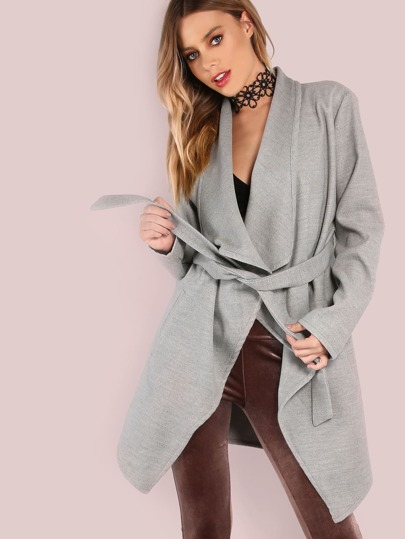 Lapel Shawl Wrap Coat HEATHER GREY