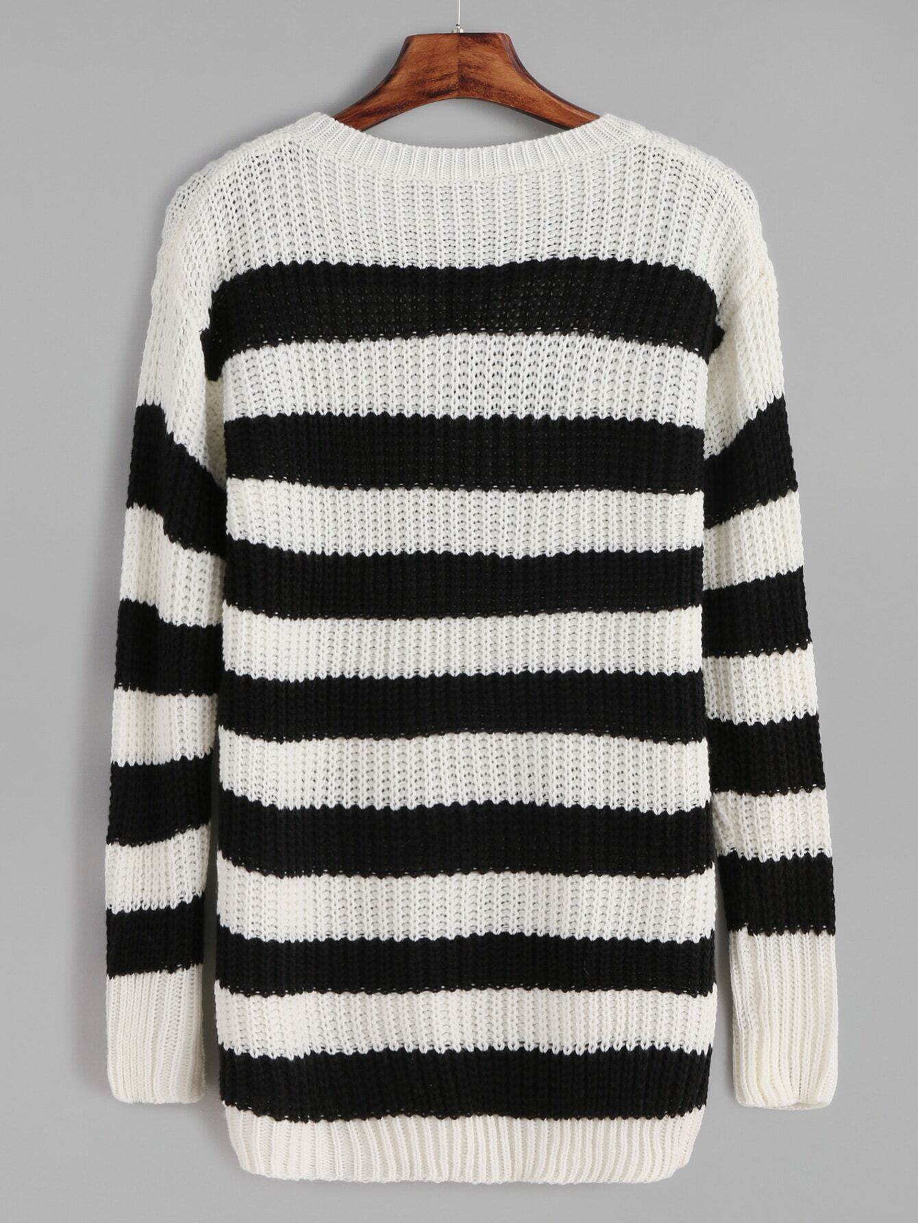Black And White Striped Loose Knit Sweater -SheIn(Sheinside)