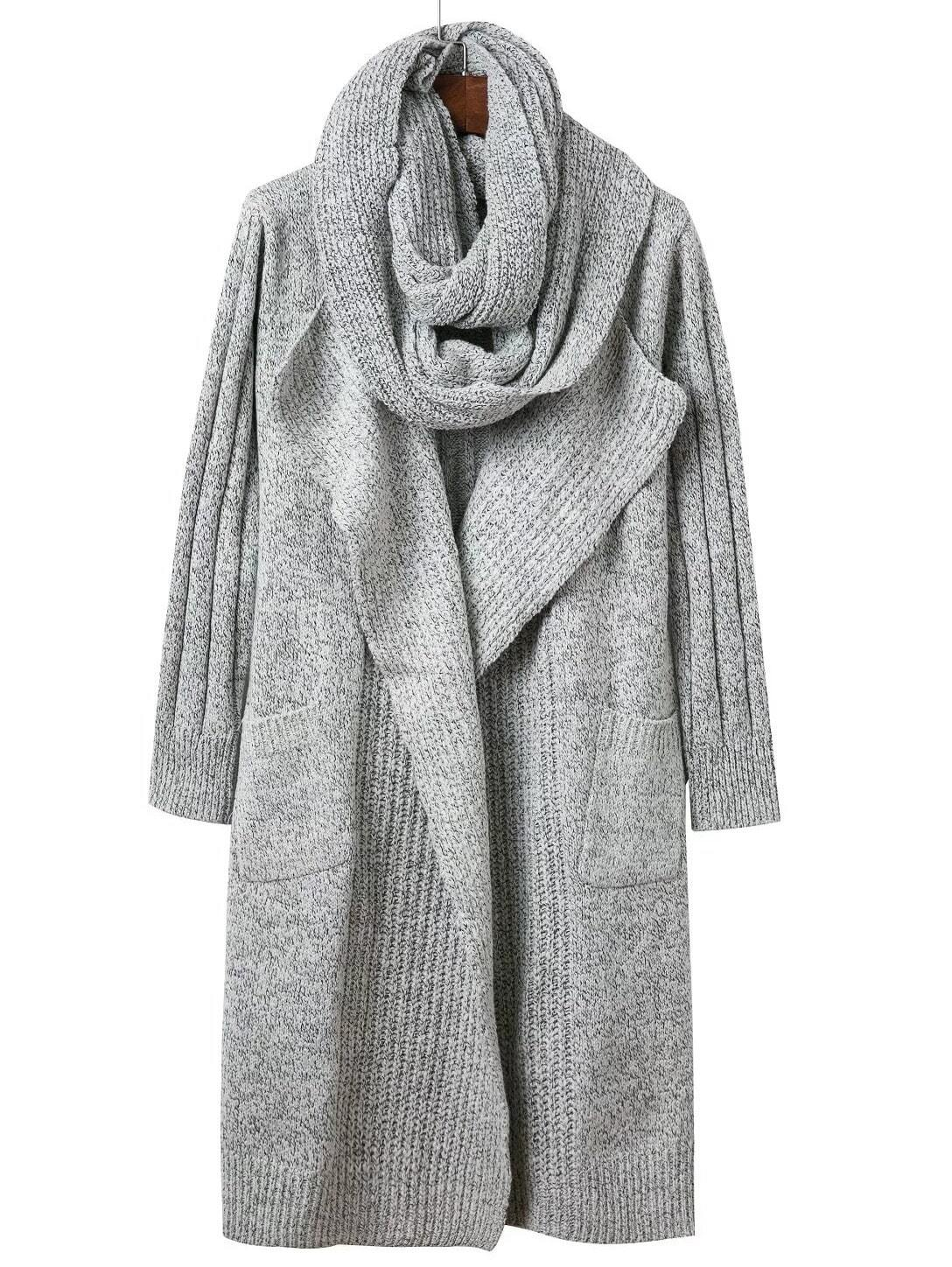 Grey Pocket Long Sweater Coat With Scarf sweater161027209