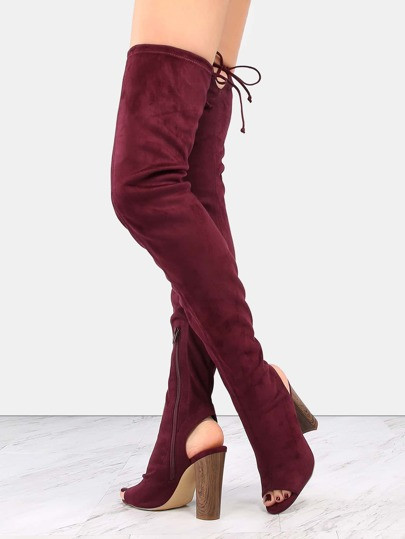Chunky Wooden Heel Thigh Boots BURGUNDY