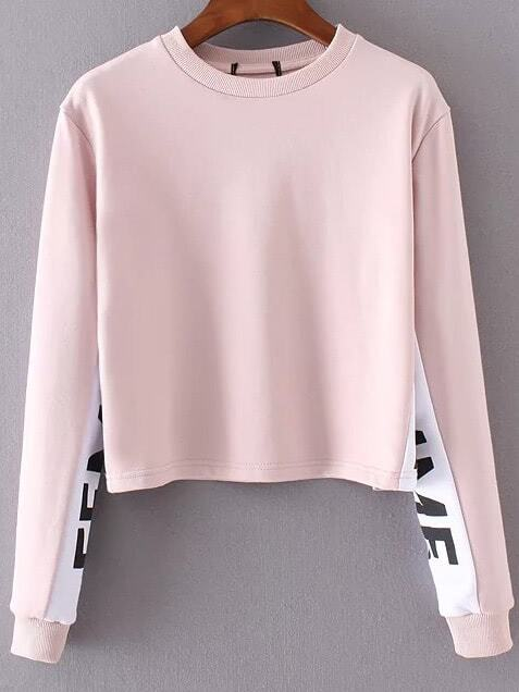 Pink Color Block Crew Neck SweatshirtPink Color Block Crew Neck Sweatshirt<br><br>color: Pink<br>size: L,M,S