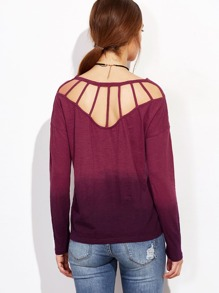 Purple Ombre Caged Back T-shirt
