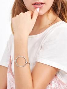 Bracelet creux en cercle - argenté