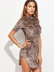 Brown Leopard Print Curved Hem Bodycon Dress