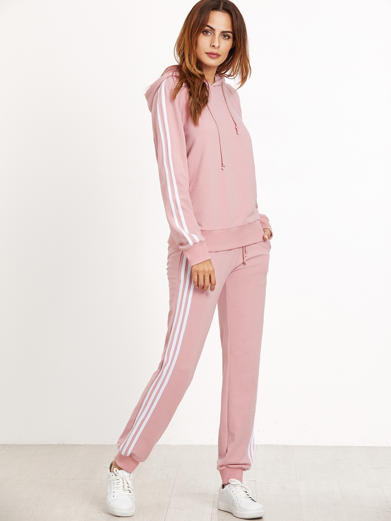Pink Striped Sideseam Hooded Sweat Suit twopiece161021701