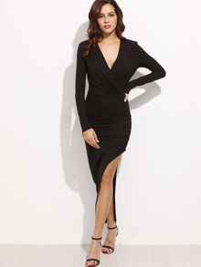 Black Surplice Front Ruched Slit Dress