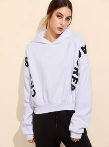 White Letter Print Batwing Sleeve Hooded Sweatshirt