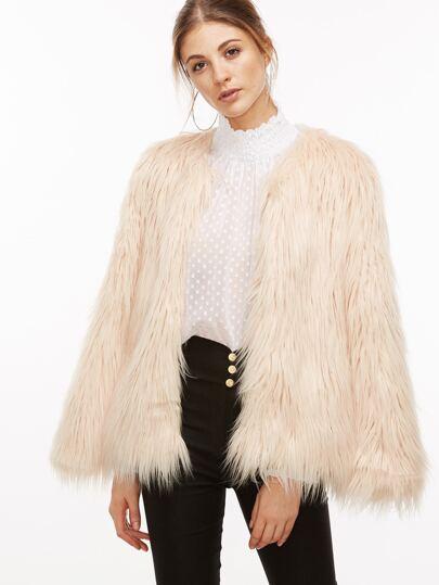 Apricot Faux Fur Coat