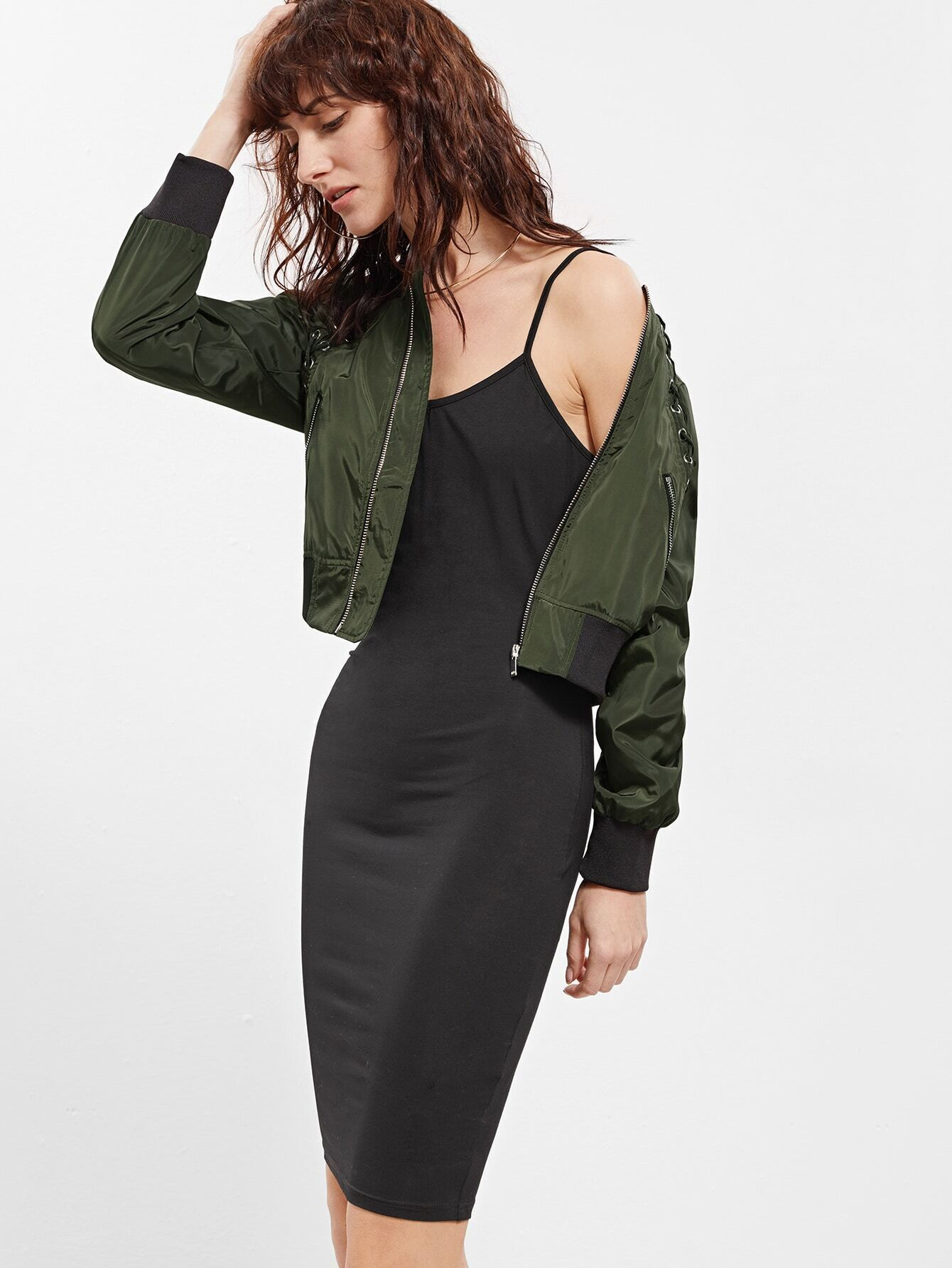 Army Green Eyelet Lace Up Contrast Trim Jacket jacket160913772