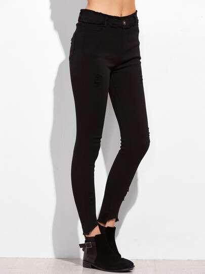 Black Elastic Waist Frayed Skinny Pants